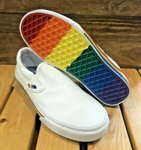 Vans Classic Slip-On - White / Rainbow - Women's Mismatched Sizes - R 6 / L 5.5