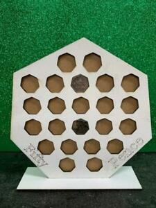 50p Coin collection holder Display with stand holds 23 coins in white