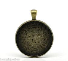 5 Pendentifs Support Cabochon Rond Couleur Bronze 4.1cm x 3.3cm B21154