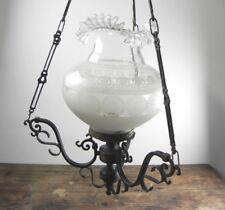Lampadario a sospensione in ottone con sfera in vetro vintage antico usato luce
