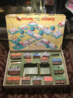 Vintage 1950's Toy Keystone Wood Block Village, Lot of 14 Buildings With Box