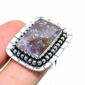 Graveyard Plume Agate Gemstone 925 Silver Plated Jewelry Ring Size 8 a88