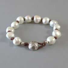 djs Sundance Sol Knotted Brown Leather White Pearl Silver Button Bracelet Boho