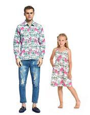 Father Daughter Matching Dress Shirt Hawaiian Dance Luau Party Black Palm M 10