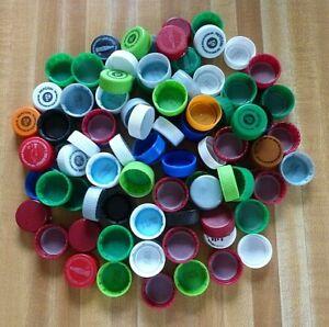 100+ Multicolor Plastic Water Bottle Caps Lids Arts Crafts Art Project