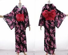 K-68 NERO ROSSO FIORI ORIGINALE GIAPPONE cotone kimono yukata Obi Cintura