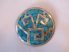 Vintage Made in Mexico Sterling Silver & Turquoise Inlay Round Brooch Pin 1.5 in