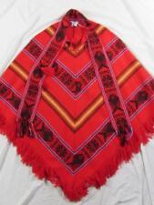 Vtg Womens 100% Acrylic Poncho Hippie Boho Smock Made in Ecuador W/ Fringe Nice!