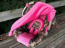 2 Piece Set-Camo Infant Car Seat Cover and Canopy Cover, Max5 and Hot Pink Minky
