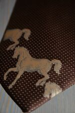 Mens Necktie Vintage Bert Pulitzer Unique Brown Race Horses Stallions Wide