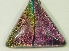 "BUTW Gorgeous Dichroic Glass 38.5mm 2Tone Triangle Pendant w/ 18"" SP Chain 8741D"