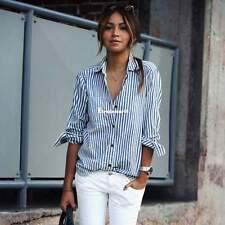 Damen vertikale gestreift T-Shirt lange Ärmel abdrehen Halsband Taste Bluse S-XL