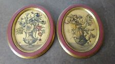"Vintage Borghese Flowered Wall Plaques 9.75"" x 7.75"""