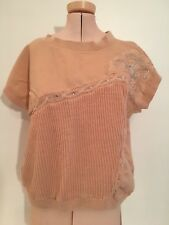 Shenanigans Vintage Shirt/Sweater/Sleeveless/Peach/Flower/Sequences/Textured M