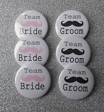 """20 x Team Bride and Groom Moustache 1"""" Favour Badges Hen Party Stag Do Wedding"""