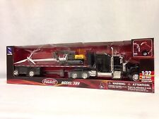 PETERBILT 389 FLATBED W/ WIND TURBINE, EXCAVATOR, 1:32 DIECAST NEW RAY TOYS BK