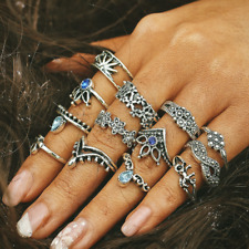 13Pcs/Set Silver Midi Finger Ring Sets Vintage Punk Boho Knuckle Rings Jewelry