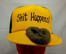 Vintage NOS SH!T HAPPENS! Yellow Brown BASEBALL HAT CAP RETRO Humour Gag Gift