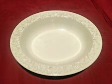 "Wedgwood Queensware Jasperware Embossed White on Cream 10x8"" Serving Bowl NICE!"