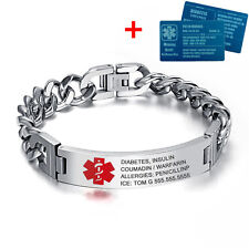 "10cmx215mm 8.5"" Adult Stainless Steel Medical Alert ID Bracelet & Aluminium Card"
