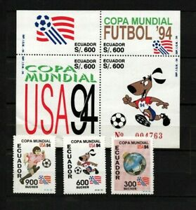 Ecuador 1994 World Cup Soccer Championships, US MNH stamp set complete Snoopy