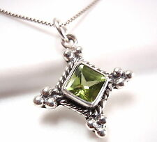 Faceted Green Peridot Necklace 925 Sterling Silver Corona Sun Jewelry