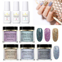 8Boxes BORN PRETTY Nail Dipping Glitter Powder With Dip Liquid Kits Natural Dry