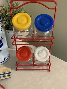 Vintage 80s Spice Rack Retro Post Modern Memphis Primary Colors Jars Kitchen