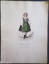 COSTUME Autriche Hongrie Suisse Gravure Originale 19e Aquarellée Pelcoq Morse 04