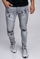 Herren Biker Jeans Grau Destroyed Denim Jeanshose Ripped Slim Fit John Kayna