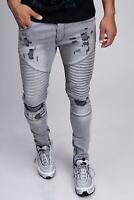 Uomo Biker Jeans Grigio Destroyed Denim Jeans Strappato Slim Fit John Kayna