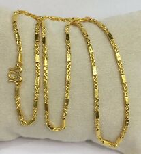 24k Solid Gold Box N Link Chain Necklace. 19 Inches. 15.0 Grams