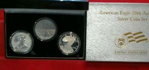2006 AMERICAN SILVER EAGLE 20th ANNIVERSARY 3 COIN SET W/ REVERSE PROOF-& COA
