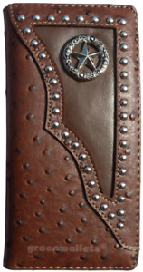 Star Mens Wallet Western Bifold Check Book Style W011-1 Brown