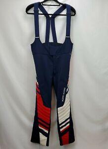 Vintage Roffe Racing Mens Ski Pants Size 34 R Blue Wool Blend Padded Suspenders