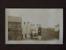 YOUNG BOY IN WHEEL CHAIR WITH YOUNG WOMEN STANDING BEHIND HIM Vtg 1920's PHOTO