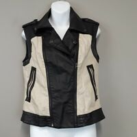 Bar lll Black &Tan Leather & Linen zip up Vest women's Size Small