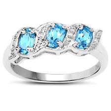 Sterling Silver 0.77ct Blue Topaz & Diamond Eternity Engagement Ring Size J-W
