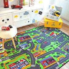 Tapis de jeux Circuit de voitures ville 145x200 cm - Chambre enfant garçon fille