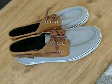 Men's Vans Canvas Smart Grey & Brown Loafer Style Shoes Trainers Ultracush UK 12