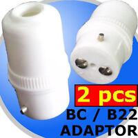 2 units B-22 Adapters BC bulb Lamp Holder connector DIY Lighting Extension 240V