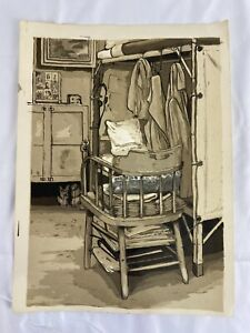 Vintage 1960's Prison Art Drawing Painting