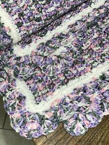 "Handmade Crochet BABY Girl Blanket LARGE Crib  38"" X 48"" Purple Gray Pink ~ NEW"