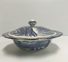 Staffordshire LIBERTY BLUE Serving Bowl w/Lid Boston Tea Party England China