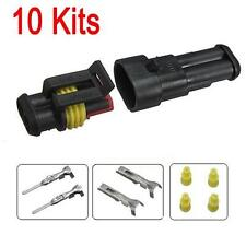 10PCS 2 Pin Way Sealed Waterproof Electrical Wire Auto Connector Plug Set Car