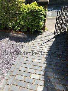 Black Limestone Cobble Setts 200x100 Natural Sandstone Driveway Paving Edging