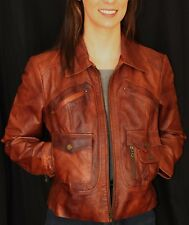 A.N.A. Fontana BROWN GENUINE Leather Cafe Racer Jacket M MOTORCYCLE BIKER MOTO