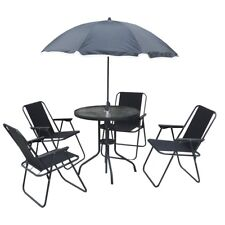6pcs Patio Dining Garden Glass Table and Folding Chair Set with Parasol Umbrella