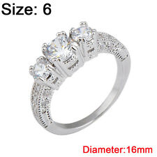 Size 6-9 White Sapphire Engagement Wedding Ring Silver Plate Crystal Rhinestone 6