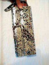 BNWT FAITH @ TOPSHOP ANIMAL LEOPARD PRINT METALLIC FOIL LEATHER CLUTCH BAG